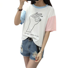 2017 College Harajuku Hit Color Sleeves Summer Funny T shirts Women Fashion OK Gesture Loose Girls Top Female T-shirt S-XL Size