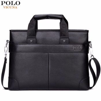 VICUNA POLO Promotion High Quality PU Leather Brand Mens Briefcase Classic Business Leather Men Handbags maletin cuero male