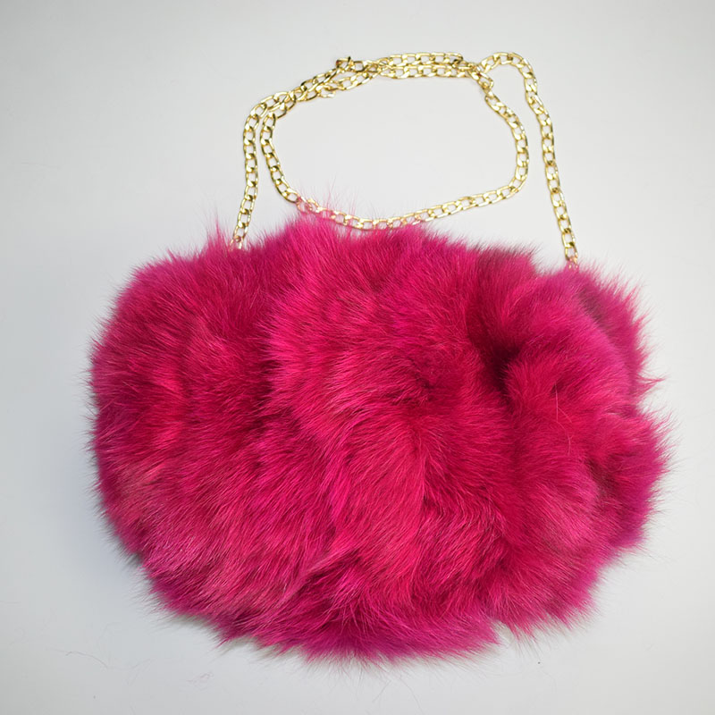 fox fur handmuff hot pink 11