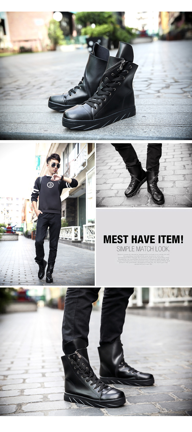 Ascott The New Kobron Men's Hip Hop Boots Martin Boots Leisure High Boots Black Lace Unique Personality