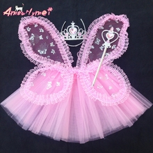 Amourlymei Hot Sale !! Fairy Princess Butterfly Wings +Wand +Headband +Tutu Skirt 4Pcs Halloween Party Cosplay Costumes(China)