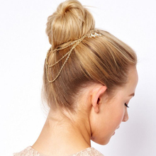 H:HYDE New Crystal Feather Hair Brooch Clip Pin Cuff Chain Head Band Jewelry Headpiece Hair Pin Hairjewelry
