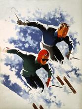 Skiing Couple Ski Winter Sports advertising Design Poster Vintage Retro Decorative DIY Wall Stickers Home Posters Art Bar Decor