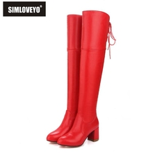 SIMLOVEYO 2017 White Women Boots Over The Knee Boots Short Plush Winter Soft PU Square High Heel Ladies Fashion Boots Size 34-43