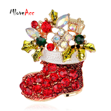MloveAcc Christmas Gifts Nice Red Shoe Boot Brooches Pins for Women Full Rhinestones Christmas Brooches for the New Year(China)
