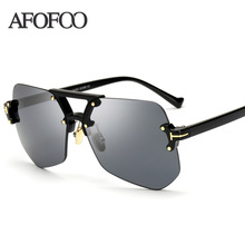 AFOFOO 2017 New Fashion Rimless Sunglasses Luxury Brand Designer Women Mirror Sun glasses Clear Men Female UV400 Shades Eyewear