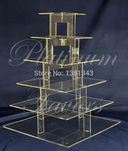 Hot selling free shopping/6 Tier Square Wedding birthday party decoration of tray  Plexiglass Cup Cake Stand