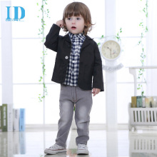 2017 Spring and Autumn New Breathable Cotton Children's Suit Vest Three-Piece Jeans Shirt Small Suit  2-8 Years Old Clothing Set