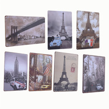 Vintage Metal Tin Sign Buildings And Car Retro Plaque Poster Bar Pub Club Wall Tavern Garage Home Decor 4 Style 1pcs