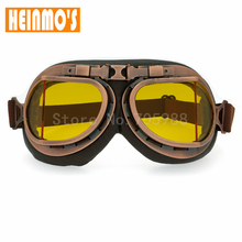 Motorcycle Goggles Vintage Glasses Motocross Classic Goggles Retro Aviator Pilot Cruiser Steampunk ATV Bike UV Protection Copper(China)