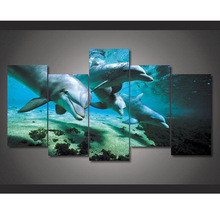 5 Pieces Marine Animal Dolphins Modern Home Wall Decor Painting Canvas Art HD Print Painting Canvas Wall Picture For Home Decor