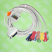 Compatible with 15 pin Fukuda,Customed,Bosch EKG monitor Machine,One-piece 10 lead ECG cable and clip leadwires,IEC or AHA.