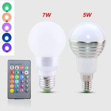 RGB SpotLight E27 / E14 5W 7W LED Lamp 110V 220V Colorful Bulb Light With IR Remote Control 16 Colors Change Home Decor Lighting