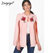 Ruiyige 2018 Autumn Women Elegant Long Sleeves Floral Embroidery Button O-Neck Shawl Cloak Jacket Sexy Cape Overcoat Street Wear(China)