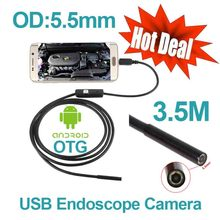 6pcs LED Smart Android Phone OTG USB Endoscope 3.5M Snake Tube Waterproof USB Endoscope Camera 5.5mm Lens Digital USB Borescope