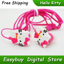 Wholesale 50 Pieces New Cartoon Hello Kitty Earphone High Quality Super Bass Stereo Headphone For MP3 Player & Mobile Phone