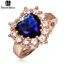 Blue Luxury Cubic Zirconia Love Heart rings Engagement Italian Brand retro Rose Gold Color finger ring Women Jewelry JZ5045