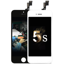 10 PCS/LOT AAA W/B for iPhone 5S LCD Display screen Digitizer Assembly with OEM Glass Replacement +Camera Holder