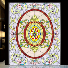 Static film Custom European church art glass film screen porch ceiling stained glass Tiffany Stained retro stickers