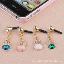 long dust plug cute Rabbit ear lovely phone accessories Crystal Rhinestones earphone plug for cell phone(China)