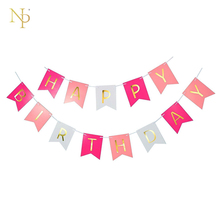 Nicro 3M Birthday Letter Banner Flags Pink&Light Pink Hanging Baby Showe/New Baby/First Birthday/Birthday Party Decor Wholesale(China)
