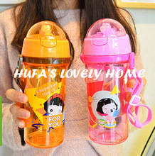 New kawaii korean/cuteplastic student 600ml water bottle with BPA FREE rope portable with lid travel sports hiking riding