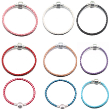 BAOPON 5Pcs/Lot Braided Cow Leather Bracelet Cord Fine Bracelets fit Charm Bracelet Jewelry Making Wristband DIY Handmade(China)