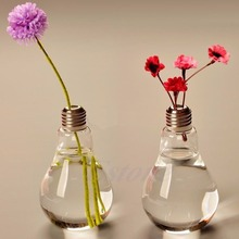 2015 Modern Glass Bulb Lamp Shape Flower Water Plant Hanging Vase Hydroponic Container Pot Office Wedding Decor-Y102