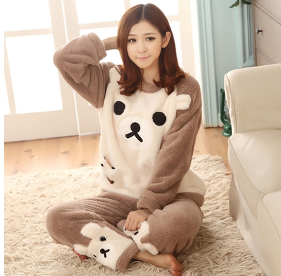 Hot sale winter good quality thickening pregnant pajamas flannel maternity clothes set coral fleece maternity pajamas sleepwear<br>