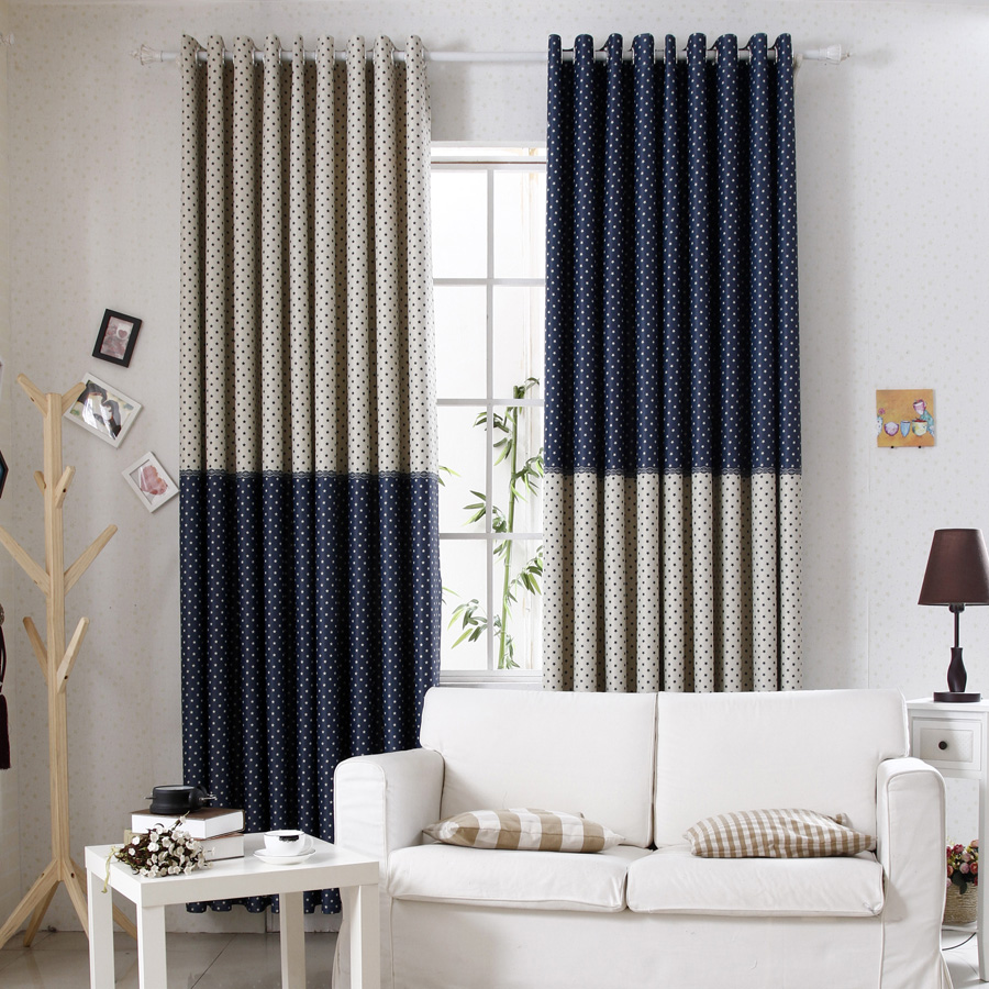 Double curtains for bedroom - Bedroom Curtain Blue Double Faced Print Living Room Curtain Cloth Floor China