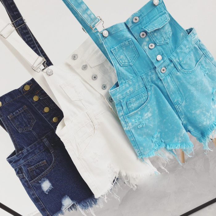 2018 new Korean college wind age denim strap shorts female wild thin students hole suspenders tide (5)