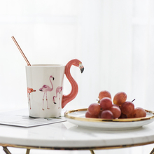 3D Hand Painted Flamingo Ceramic Colored Mugs Creative Coffee Couple Cup Cute Animal Bird Mugs Girl Birthday Gifts(China)