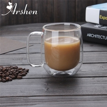 Arshen Big Promotion! 300ml Handmade Heat Resistance Double Wall Clear Glass Cups Coffee Milk Tea Beer Mug Transparent Drinkware