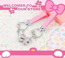 BLITHEYO Cute Metal Hello Kitty Keychain Pink Leather Belt KT Key Rings Girl Car Purse Charms Key Chain Holder Pendant Gift