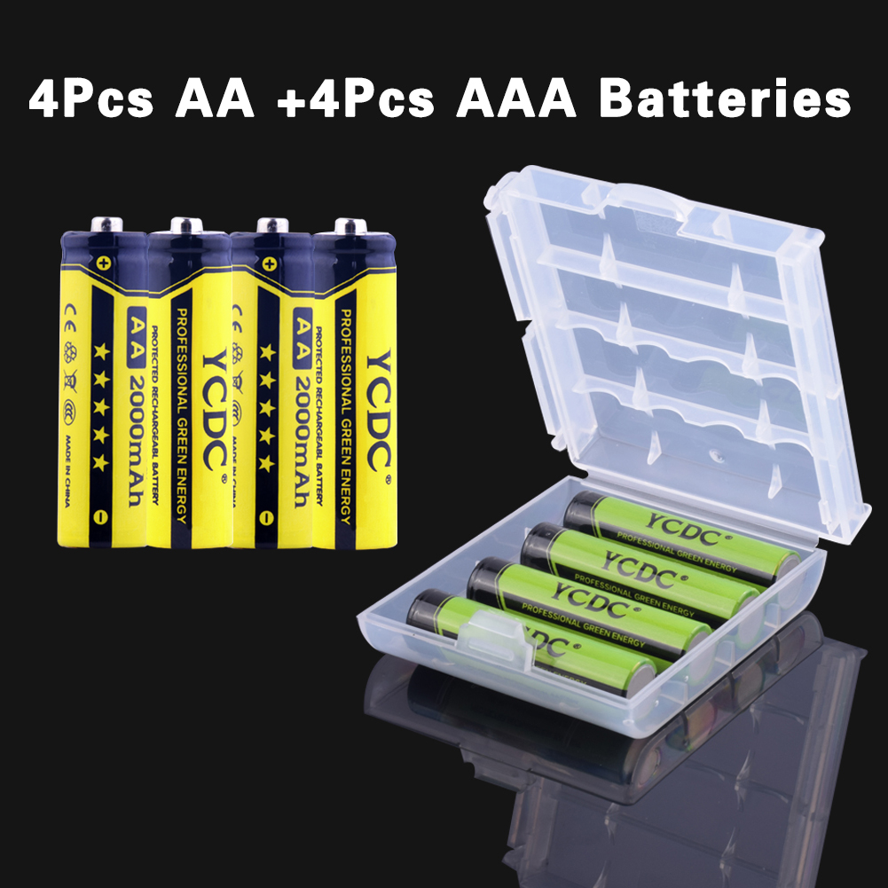 YCDC 4pc LR6 HR6 AA 2000mAh+4pcs HR03 LR03 AAA 1000mAh 1.2V NiMH Rechargeable Battery For Cameras,Mouse,Remote Controls EE6349_1(China (Mainland))