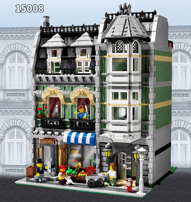 LEPIN-15008-2462pcs-City-Street-Creator-Green-Grocer-Model-Minifigures-Building-Blocks-Bricks-toys-Compatible-With