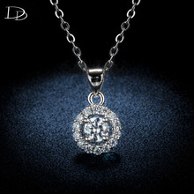 round pendant necklace for women AAA rhinestone choker 925 sterling silver fashion jewelry wedding engagement wholesale DSN001