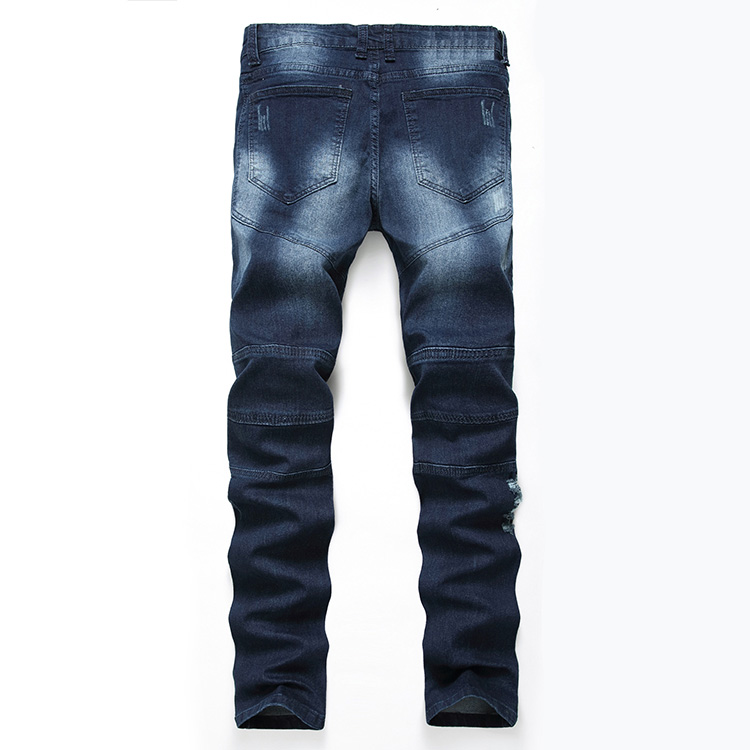 Aolamegs Men Jeans Pants Hole Ruched Full Length High Street Crest Multiple Colors High Elastic Light Cultivation Denim Straight (23)