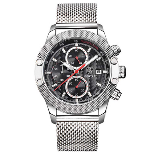 BENYAR Sport Chronograph Watches Men Mesh Band Multifunction Waterproof Quartz Watch silver black red<br>