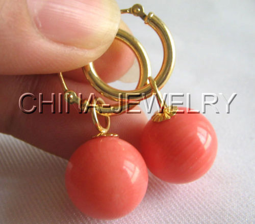 Selling Picture >Genuine AAA 12mm natural perfect round pink coral earring - Selling