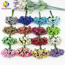 12pcs Artificial Stamen flower bouquet for Wedding Box Scrapbooking Decoration DIY wreaths crafts Flowers(China)