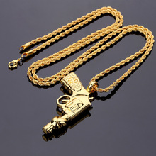 High-quality Peace Pistol Necklace Jewelry Gold Chain for Men Hip Hop Bad Girl Star Bling Bling Rock Women Men Gift Box