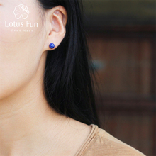 Lotus Fun Real 925 Sterling Silver Natural Lapis Creative Handmade Fine Jewelry Vintage Fashion Stud Earrings for Women Brincos(China)