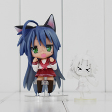 "Q Version Lucky Star Anime Cartoon Cute Girl Lzumi Konata PVC Action Figure Toys Collection Dolls 4""10cm"