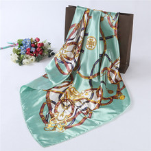 New Arrial Spring Scarf Classic Link Chain Handkerchief Girls Summer Headband 90x90cm Small Square Scarves Brand Satin Scarf