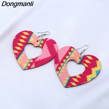 M40 Dongmanli Wooden Fashion Exaggerated National Wind Heart Shaped Lady Mixed Earrings Wood Earrings Jewelry Accessories(China)