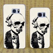 B1085 Earphone Skull Transparent Hard PC Case Cover For Samsung Galaxy S 3 4 5 6 7 Mini Edge Plus Note 3 4 5 7