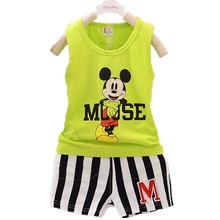 1-4Yrs 2017 Summer Mickey Mouse Clothing Suit Baby Boys Korean CottonT Shirts+shorts Fashion Pullover Kids Clothes Free Shipping