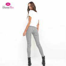WannaThis 2017 Plaid Pants Women Casual High Waist Skinny Long Pencil OL Office Lady Elastic Trousers Slim Cotton Work Pants(China)