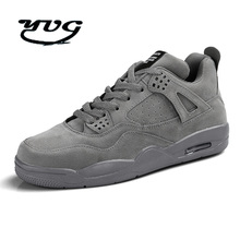 Men Shoes Trainers Grey Black Authentic Basketball Shoes Classic Shoes Retro Comfortable Men Shoes High-Top Outdoor Sneakers(China)